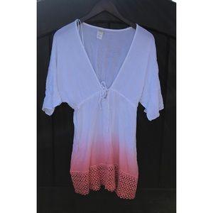 L Space Pink White Ombré Swim Coverup Dress